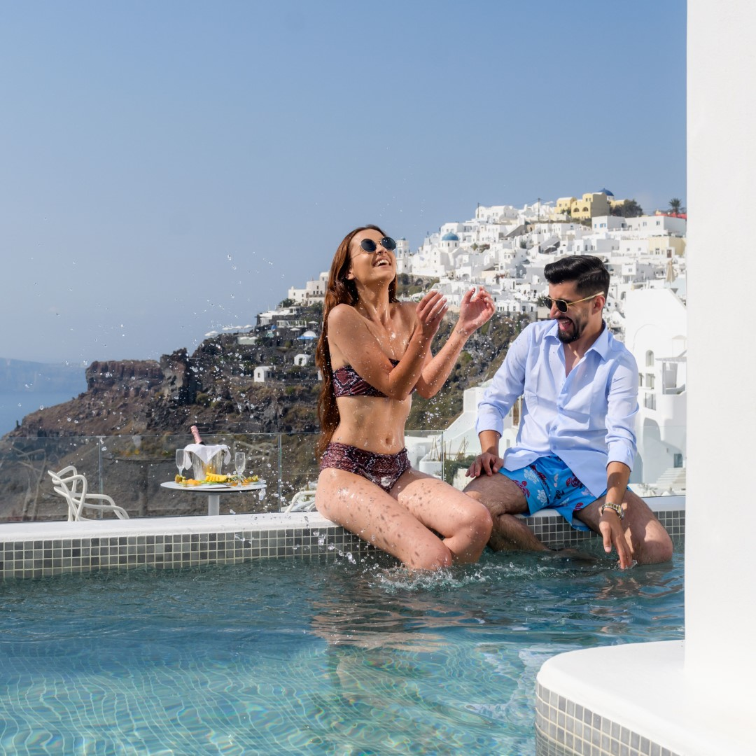 An Iconic Hotel on the Caldera whose Honeymoon Suites with Private Pool ooze romance & splendor!