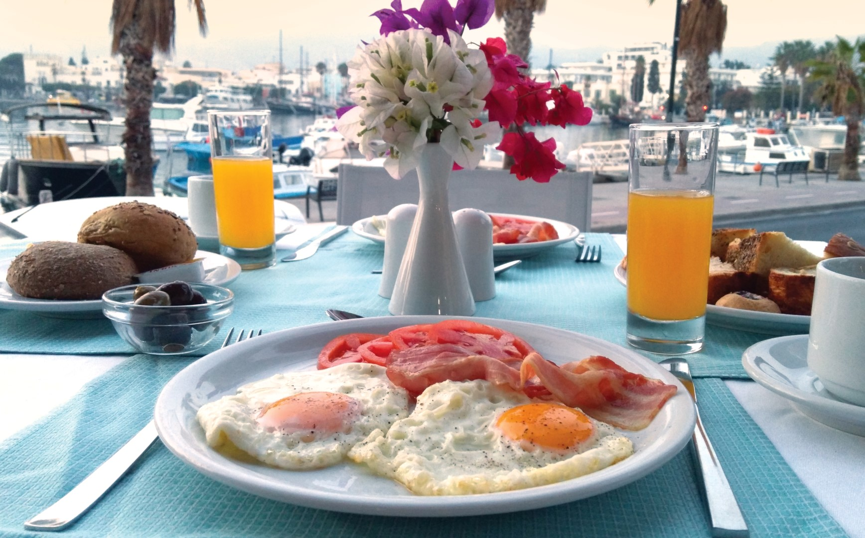 Delicious local treats to start your day, at an iconic hotel at Kos Harbor