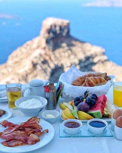 A Traditional Greek breakfast over Santorini Caldera & Skaros Rock